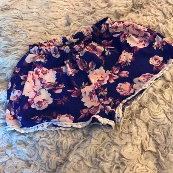 Charlotte Russe Pants - Charlotte Russe floral shorts S M neon & royalblue